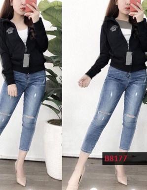 Áo khoác nữ thun da cá thêu logo- B8177