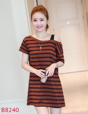 Đầm suông kiêm áo form dài sọc to lệch vai- B8240