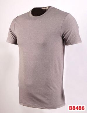 Áo thun nam cổ tròn màu xám đậm co giãn tốt - B8486