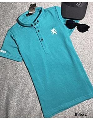 Áo thun nam cổ trụ màu xanh - B8552