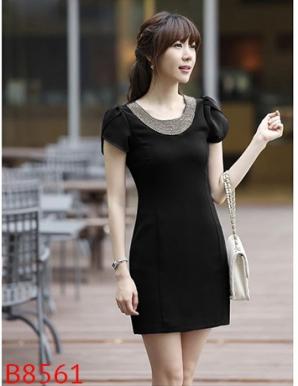 Đầm ôm dự tiệc màu đen cổ kết hạt-B8561