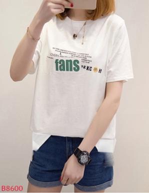 Áo thun nữ in chữ fans- B8600