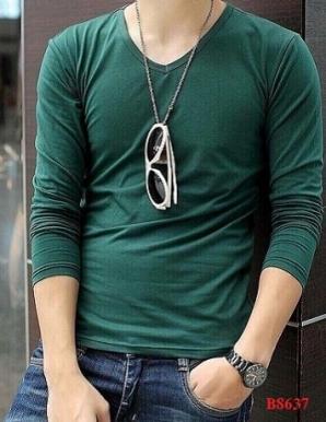 Áo thun nam cổ tim tay dài màu xanh rêu - B8637